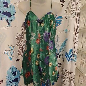 Vintage 90s Cacique Green Satin Floral Teddy